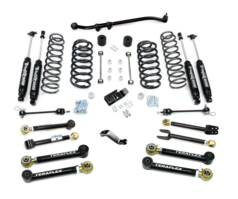 teraflex tj 4in lift kit with 8 flex arms  trackbar  and 9550 shocks