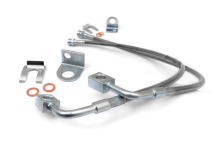 Rough Country Jeep JK Stainless Steel Brake Lines, Front