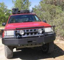 C4x4 Grille Guard for ZJ winch bumper.