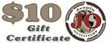 JeepinOutfitters.com Gift Certificate - $10