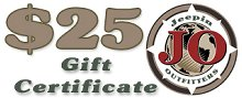 JeepinOutfitters.com Gift Certificate - $25