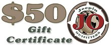 JeepinOutfitters.com Gift Certificate - $50