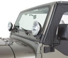 Rampage Windshield Light Brackets, black - CJ7/YJ