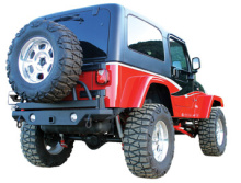 Rampage Rear Recovery Bumper + Tire Carrier, YJ/TJ