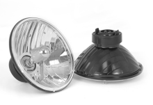 Rugged Ridge Crystal H2 Headlight, 7 Inch Round, H2 Bulb, Pair, Includes Bulbs