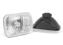 Rugged Ridge Crystal H2 Headlight, 200Mm Rectangular, H2 Bulb, Pair, Includes Bulbs