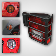 Rugged Ridge Euro Guard Light Kit without Fog Lights, Black, 8 Piece, Jeep Wrangler (JK) 07-11