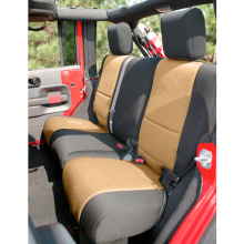 Rugged Ridge Seat Cover Rear, 2-Door, Neoprene, Black with Tan Inserts, Jeep Wrangler (JK) 2011