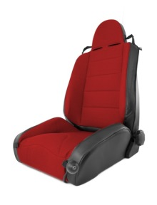 Rugged Ridge Front Seat, XHD Off Road Reclining Seat, Black With Red Insert, Jeep Cherokee (XJ) 84-01