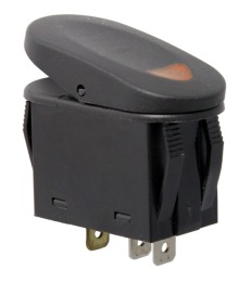 Rugged Ridge Rocker Switch, Two Position, Black with Amber Indicator Light, Universal Application