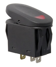 Rugged Ridge Rocker Switch, Two Position, Black with Red Indicator Light, Universal Application
