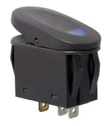 Rugged Ridge Rocker Switch, Two Position, Black with Blue Indicator Light, Universal Application