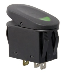 Rugged Ridge Rocker Switch, Two Position, Black with Green Indicator Light, Universal Application