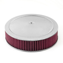 Rugged Ridge Air Cleaner Assembly, 14In Round, Chrome Lid With Synthetic Filter