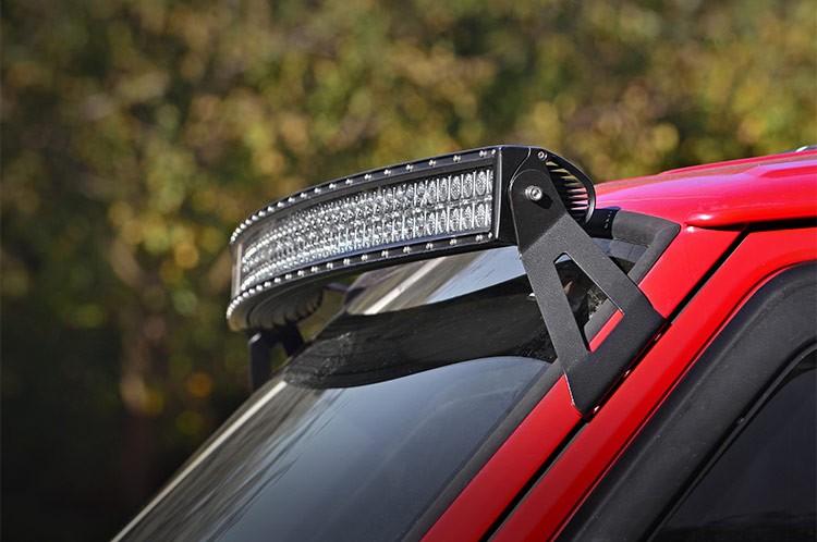 country jeep 50 inch curved led light bar upper windshield mounts. Black Bedroom Furniture Sets. Home Design Ideas