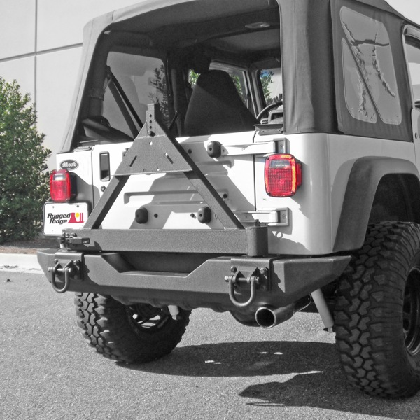 rugged ridge tire carrier add on for xhd rear bumper jeep. Black Bedroom Furniture Sets. Home Design Ideas
