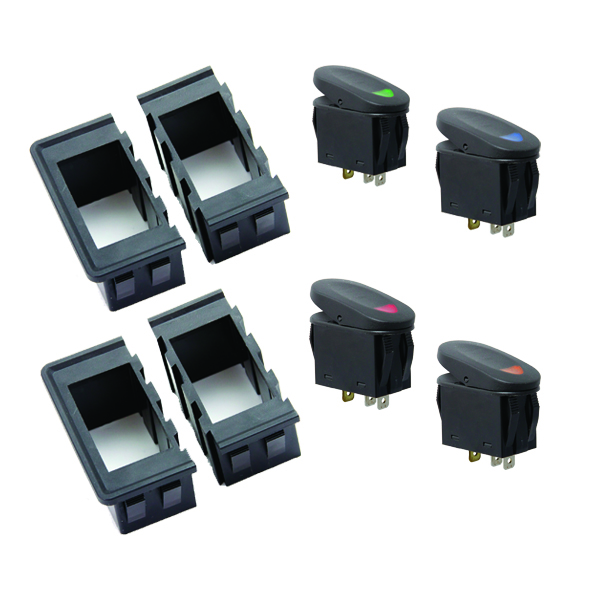rugged ridge rocker switch housing kit universal application includes four interlocking switch