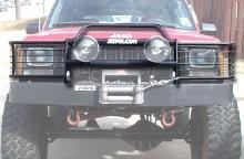 C4x4 Grille guard for XJ winch bumper.