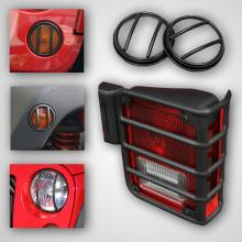 Rugged Ridge Euro Guard Light Kit with Fog Lights, Black, 10 Piece, Jeep Wrangler (JK) 07-11