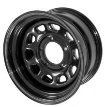 Rugged Ridge Steel Wheel D Window , Black, 15X8, 5 On 5.5 Bolt Pattern, 3.75 Backspacing